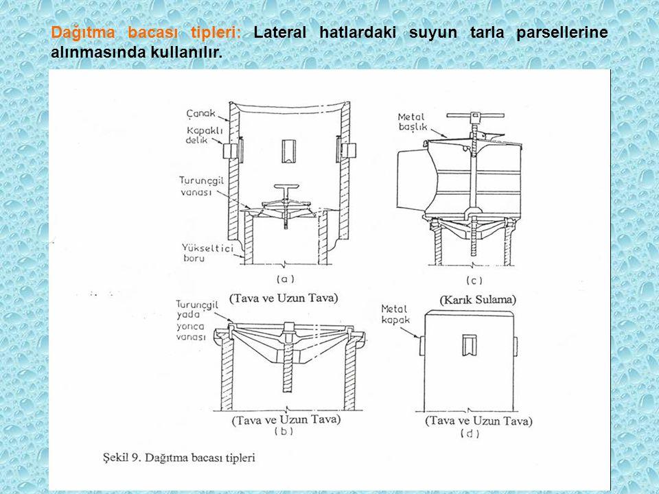 Saptırma bacaları: Suyun ana boru hattından laterale alınmasında kullanılır. Aynı zamanda bu bacalar basınç düşürme bacası görevi de görürler.