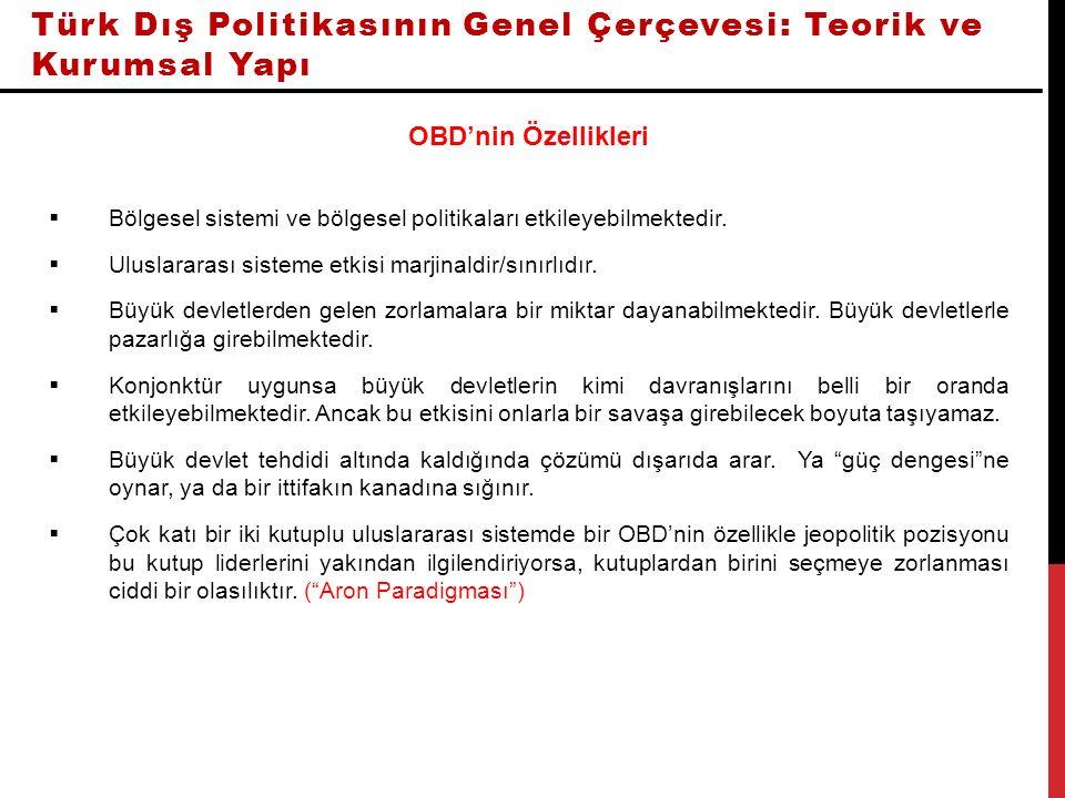 Türk Dış Politikasının Genel Çerçevesi: Teorik ve Kurumsal Yapı OBD'nin Özellikleri  Bölgesel sistemi ve bölgesel politikaları etkileyebilmektedir.