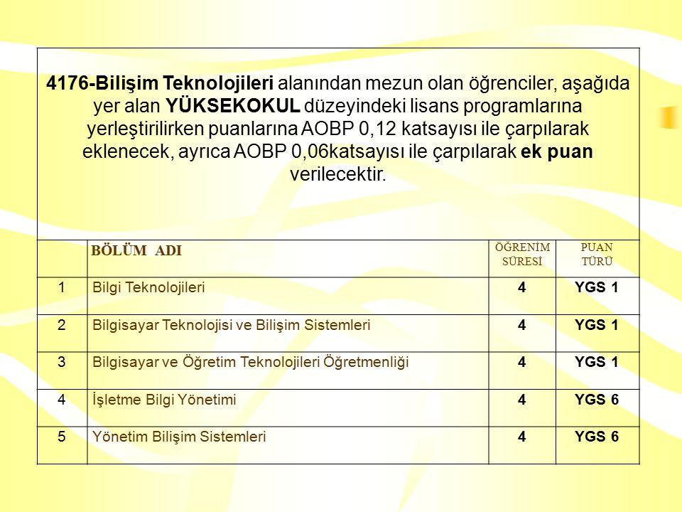 4176-Bilişim Teknolojileri alanından mezun olan öğrenciler, aşağıda yer alan YÜKSEKOKUL düzeyindeki lisans programlarına yerleştirilirken puanlarına AOBP 0,12 katsayısı ile çarpılarak eklenecek, ayrıca AOBP 0,06katsayısı ile çarpılarak ek puan verilecektir.