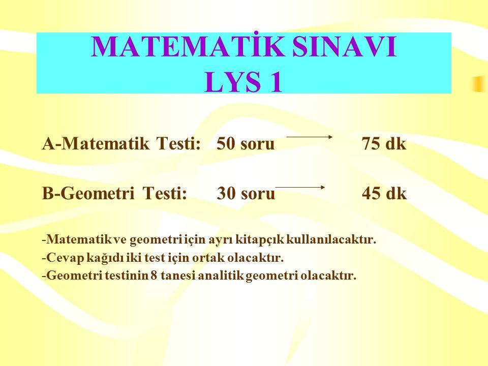 MATEMATİK SINAVI LYS 1 A-Matematik Testi: 50 soru 75 dk B-Geometri Testi: 30 soru 45 dk -Matematik ve geometri için ayrı kitapçık kullanılacaktır.