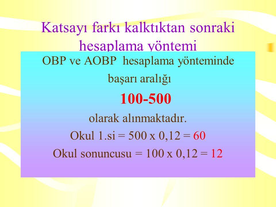 Katsayı farkı kalktıktan sonraki hesaplama yöntemi OBP ve AOBP hesaplama yönteminde başarı aralığı 100-500 olarak alınmaktadır.