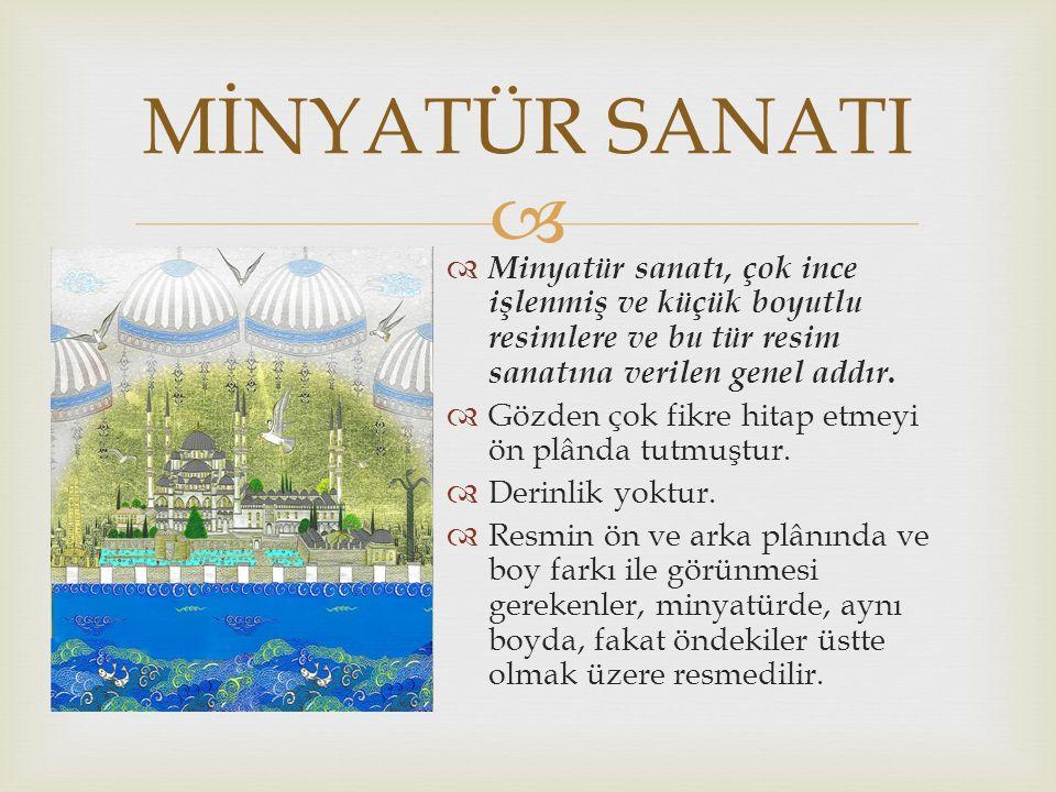   Minyatür sanatı, çok ince işlenmiş ve küçük boyutlu resimlere ve bu tür resim sanatına verilen genel addır.
