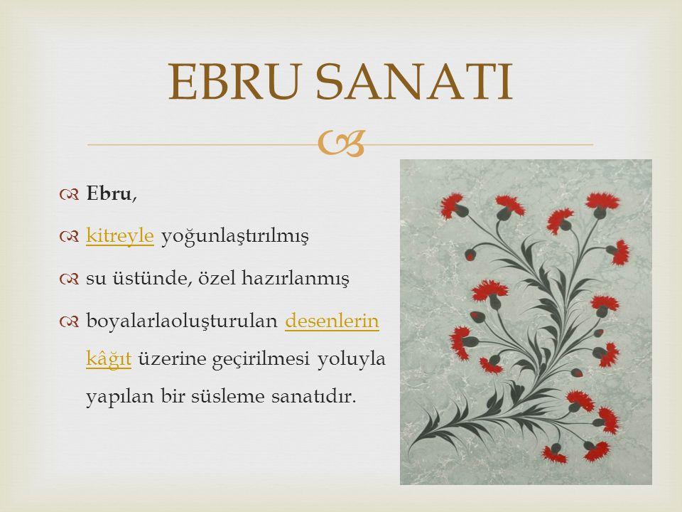   Ebru,  kitreyle yoğunlaştırılmış kitreyle  su üstünde, özel hazırlanmış  boyalarlaoluşturulan desenlerin kâğıt üzerine geçirilmesi yoluyla yapılan bir süsleme sanatıdır.desenlerin kâğıt EBRU SANATI