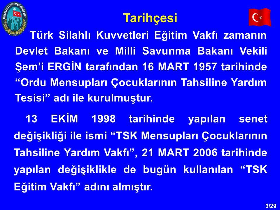 3/29 Türk Silahlı Kuvvetleri Eğitim Vakfı zamanın Devlet Bakanı ve Milli Savunma Bakanı Vekili Şem'i ERGİN tarafından 16 MART 1957 tarihinde Ordu Mensupları Çocuklarının Tahsiline Yardım Tesisi adı ile kurulmuştur.