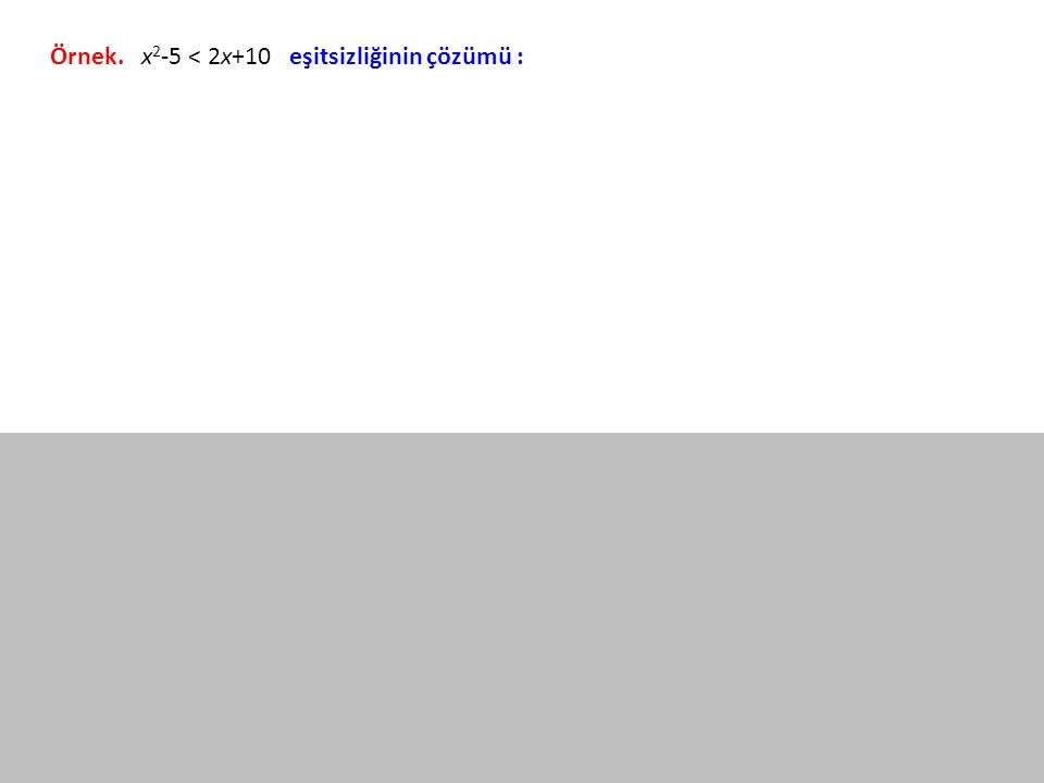 Örnek. x 2 -5 < 2x+10 eşitsizliğinin çözümü :
