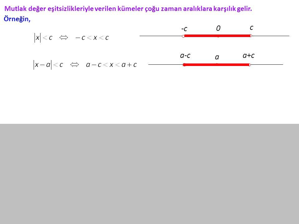 Mutlak değer eşitsizlikleriyle verilen kümeler çoğu zaman aralıklara karşılık gelir. -c c 0 a-ca+ca+c a Örneğin,