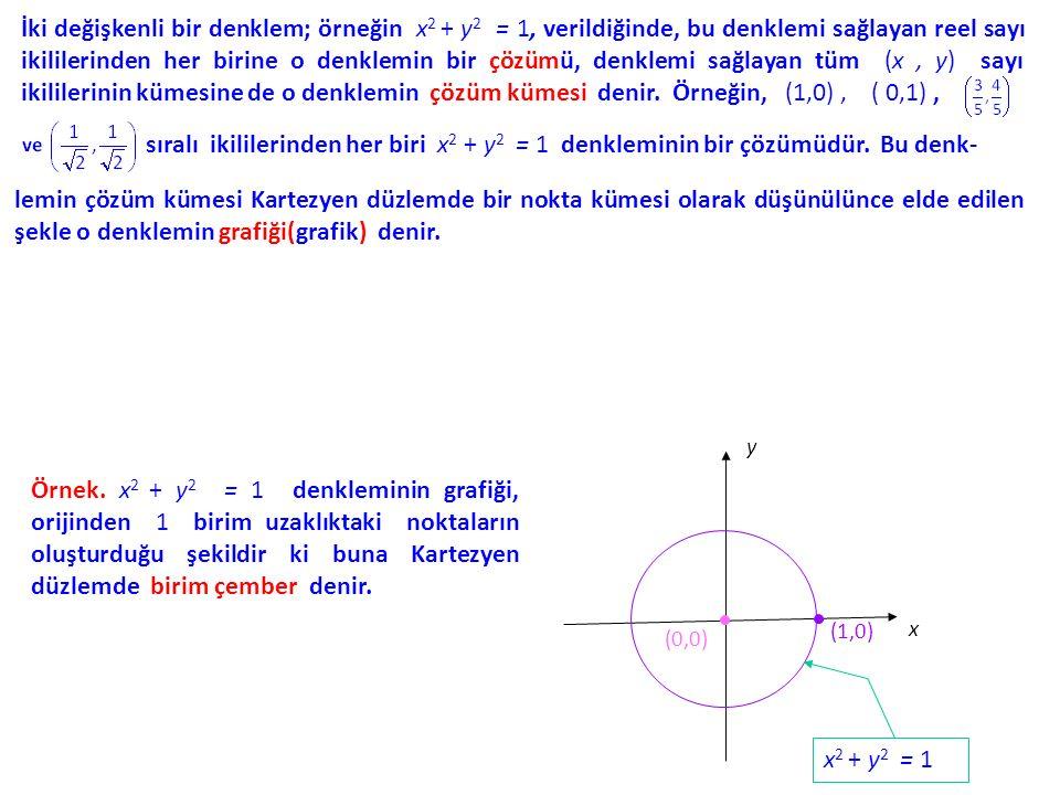 İki değişkenli bir denklem; örneğin x 2 + y 2 = 1, verildiğinde, bu denklemi sağlayan reel sayı ikililerinden her birine o denklemin bir çözümü, denklemi sağlayan tüm (x, y) sayı ikililerinin kümesine de o denklemin çözüm kümesi denir.