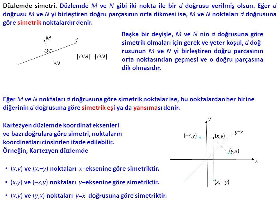 Düzlemde simetri. Düzlemde M ve N gibi iki nokta ile bir d doğrusu verilmiş olsun. Eğer d doğrusu M ve N yi birleştiren doğru parçasının orta dikmesi