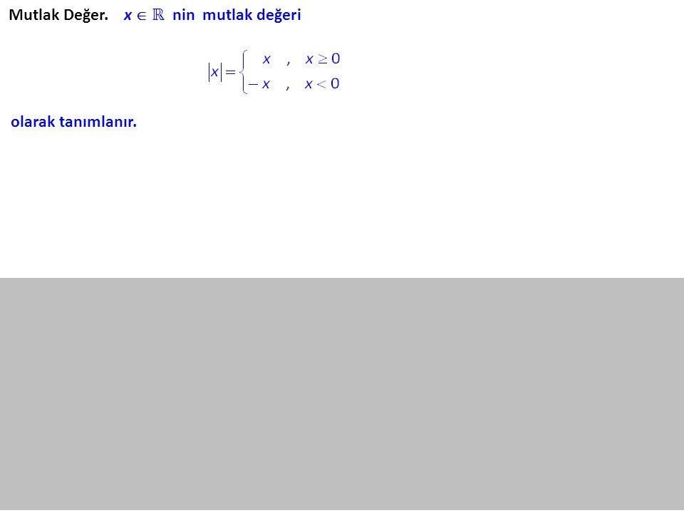 Mutlak Değer. x  ℝ nin mutlak değeri olarak tanımlanır.