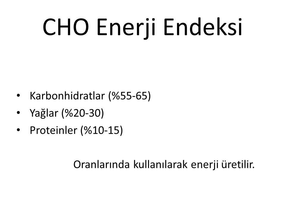Karbonhidratlar (%55-65) Yağlar (%20-30) Proteinler (%10-15) Oranlarında kullanılarak enerji üretilir. CHO Enerji Endeksi