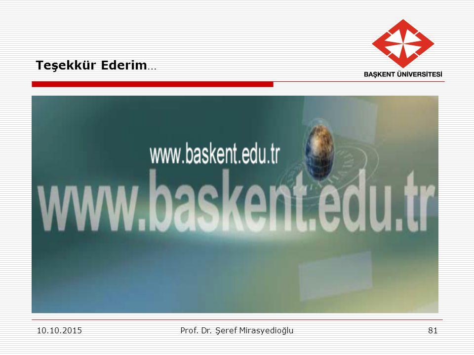 10.10.2015Prof. Dr. Şeref Mirasyedioğlu81 Teşekkür Ederim…
