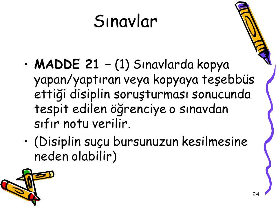 Sınavlar MADDE 21 – (1) Sınavlarda kopya yapan/yaptıran veya kopyaya teşebbüs ettiği disiplin soruşturması sonucunda tespit edilen öğrenciye o sınavda