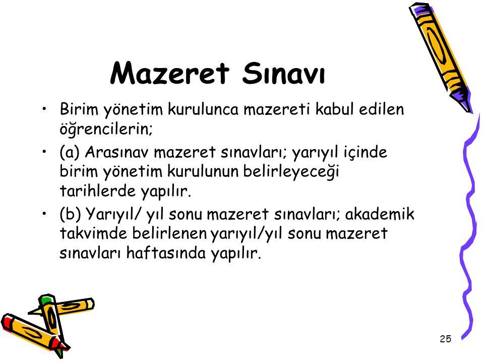 25 Mazeret Sınavı Birim yönetim kurulunca mazereti kabul edilen öğrencilerin; (a) Arasınav mazeret sınavları; yarıyıl içinde birim yönetim kurulunun b