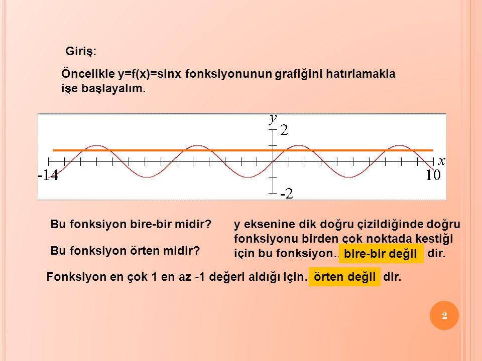 2 Öncelikle y=f(x)=sinx fonksiyonunun grafiğini hatırlamakla işe başlayalım. Giriş: Bu fonksiyon bire-bir midir? Bu fonksiyon örten midir? y eksenine