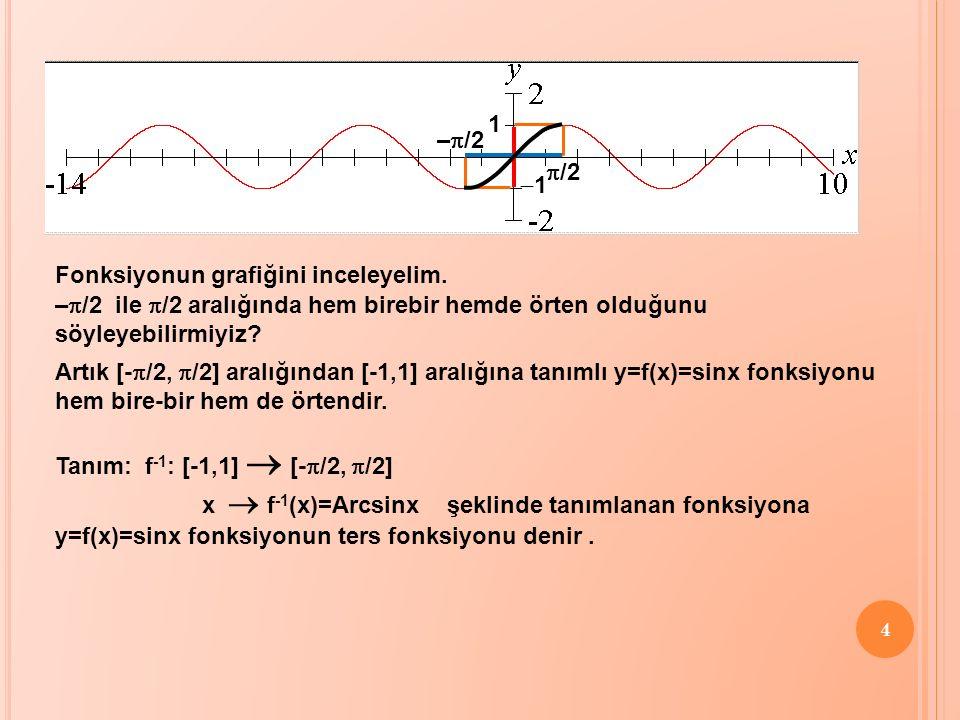4 Fonksiyonun grafiğini inceleyelim. –  /2  /2 11 1 Artık [-  /2,  /2] aralığından [-1,1] aralığına tanımlı y=f(x)=sinx fonksiyonu hem bire-bir