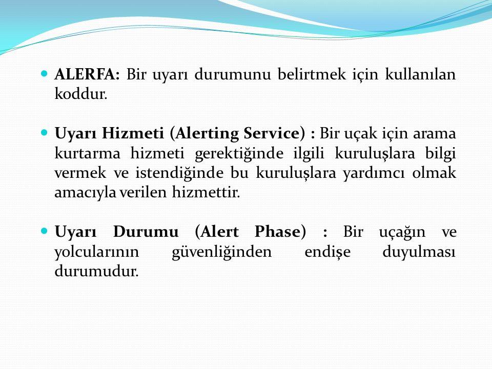 ALERFA: Bir uyarı durumunu belirtmek için kullanılan koddur. Uyarı Hizmeti (Alerting Service) : Bir uçak için arama kurtarma hizmeti gerektiğinde ilgi