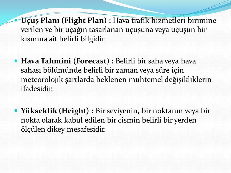 Uçuş Planı (Flight Plan) : Hava trafik hizmetleri birimine verilen ve bir uçağın tasarlanan uçuşuna veya uçuşun bir kısmına ait belirli bilgidir. Hava