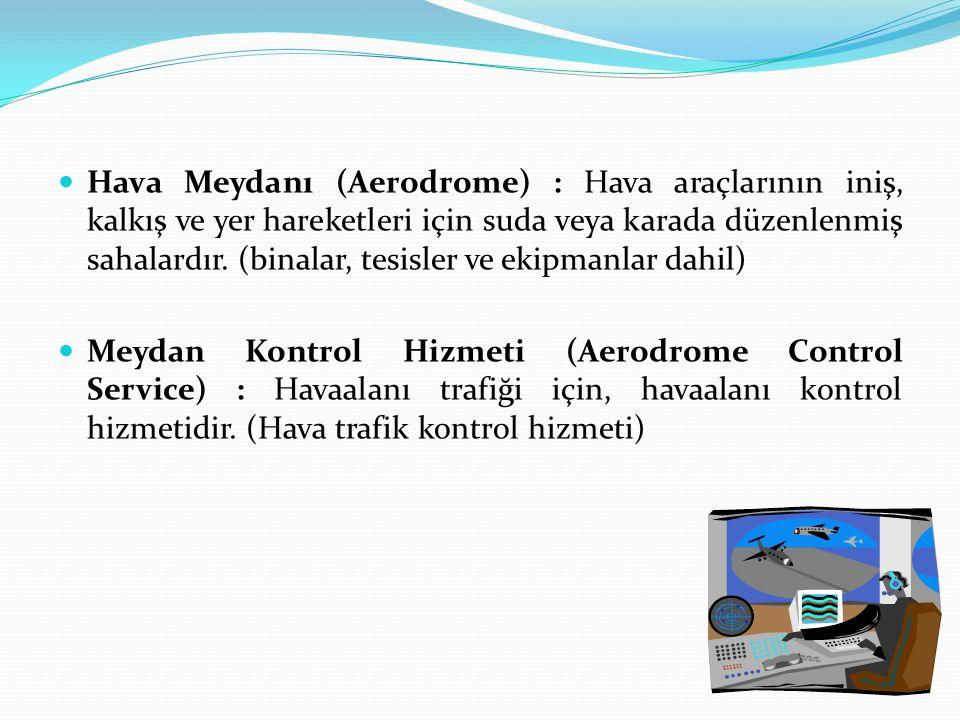 Hava Meydanı (Aerodrome) : Hava araçlarının iniş, kalkış ve yer hareketleri için suda veya karada düzenlenmiş sahalardır. (binalar, tesisler ve ekipma