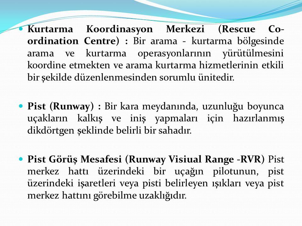 Kurtarma Koordinasyon Merkezi (Rescue Co- ordination Centre) : Bir arama - kurtarma bölgesinde arama ve kurtarma operasyonlarının yürütülmesini koordi