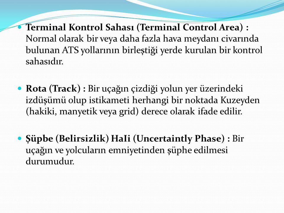 Terminal Kontrol Sahası (Terminal Control Area) : Normal olarak bir veya daha fazla hava meydanı civarında bulunan ATS yollarının birleştiği yerde kur