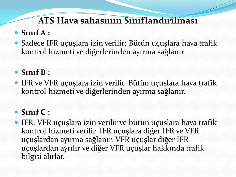 ATS Hava sahasının Sınıflandırılması Sınıf A : Sadece IFR uçuşlara izin verilir; Bütün uçuşlara hava trafik kontrol hizmeti ve diğerlerinden ayırma sa