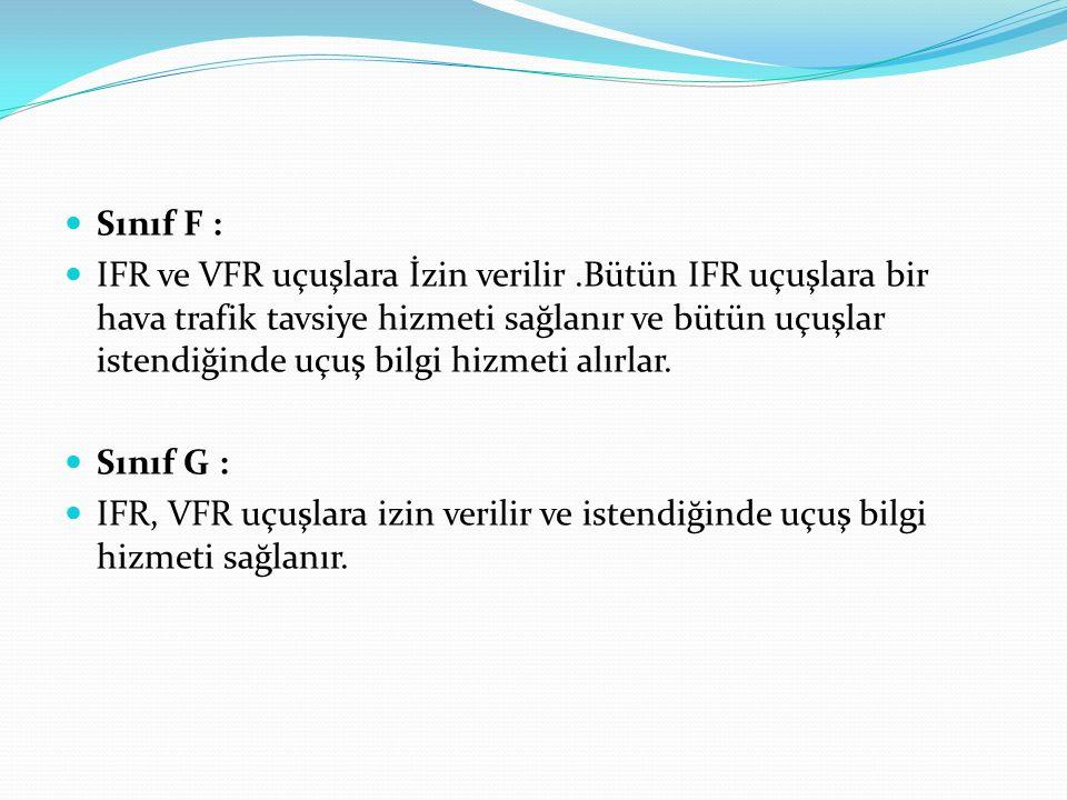 Sınıf F : IFR ve VFR uçuşlara İzin verilir.Bütün IFR uçuşlara bir hava trafik tavsiye hizmeti sağlanır ve bütün uçuşlar istendiğinde uçuş bilgi hizmet