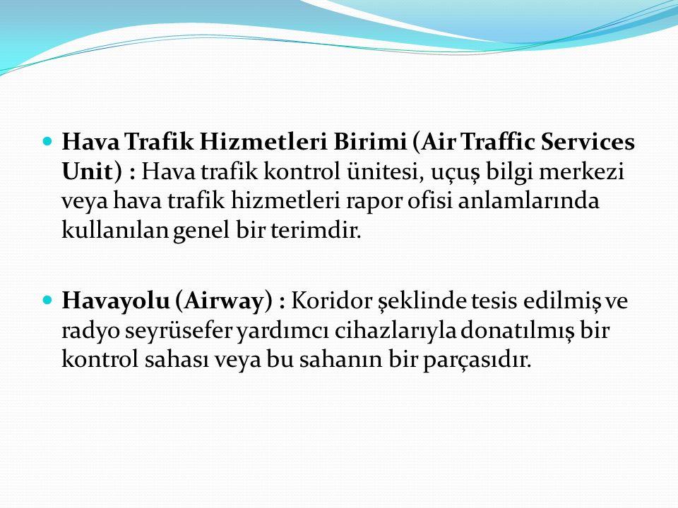 Hava Trafik Hizmetleri Birimi (Air Traffic Services Unit) : Hava trafik kontrol ünitesi, uçuş bilgi merkezi veya hava trafik hizmetleri rapor ofisi an