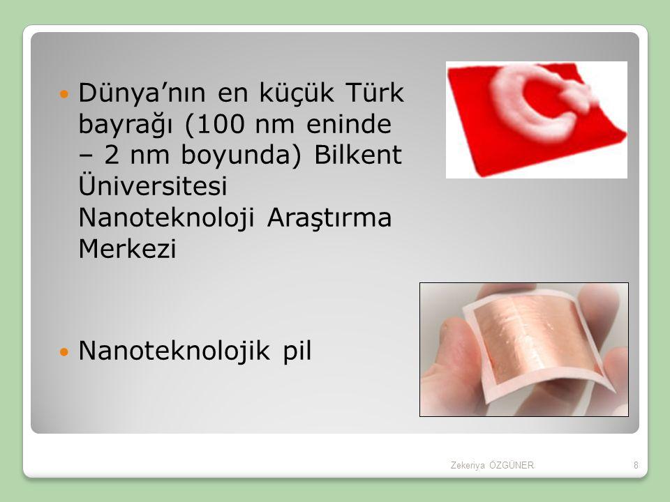 Dünya'nın en küçük Türk bayrağı (100 nm eninde – 2 nm boyunda) Bilkent Üniversitesi Nanoteknoloji Araştırma Merkezi Nanoteknolojik pil 8Zekeriya ÖZGÜNER