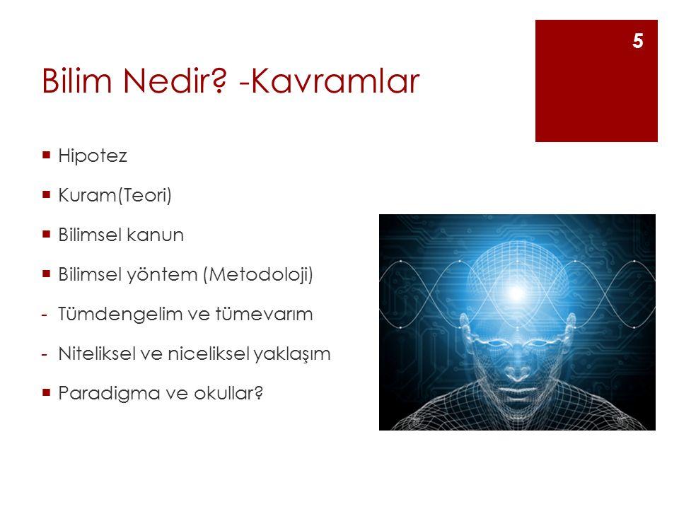 Paradigma  Düşünsel ve davranışsal ortaklıklar  Bir döneme ait yapılan bilimsel ve felsefi yaklaşımları etkileyen inanışlar ve değerler seti (Thomas Kuhn)  Bilimsel devrimler paradigma değişimi ve yıkımları sayesinde yapılmıştır.