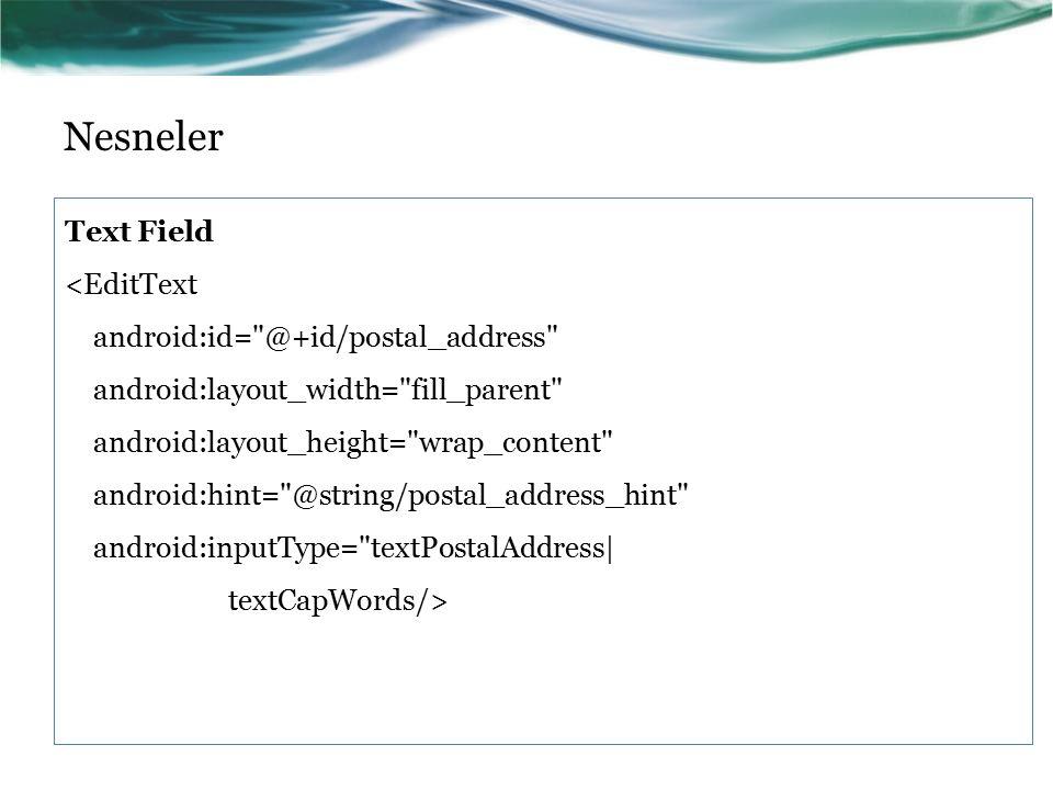 Nesneler Text Field