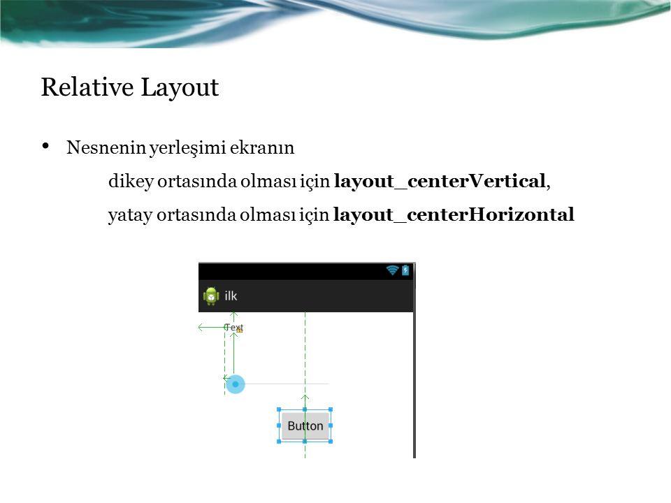 Relative Layout Nesnenin yerleşimi ekranın dikey ortasında olması için layout_centerVertical, yatay ortasında olması için layout_centerHorizontal