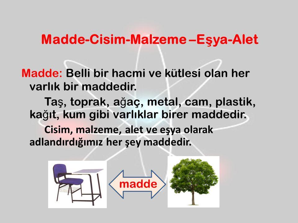 Madde-Cisim-Malzeme –E ş ya-Alet Madde: Belli bir hacmi ve kütlesi olan her varlık bir maddedir.