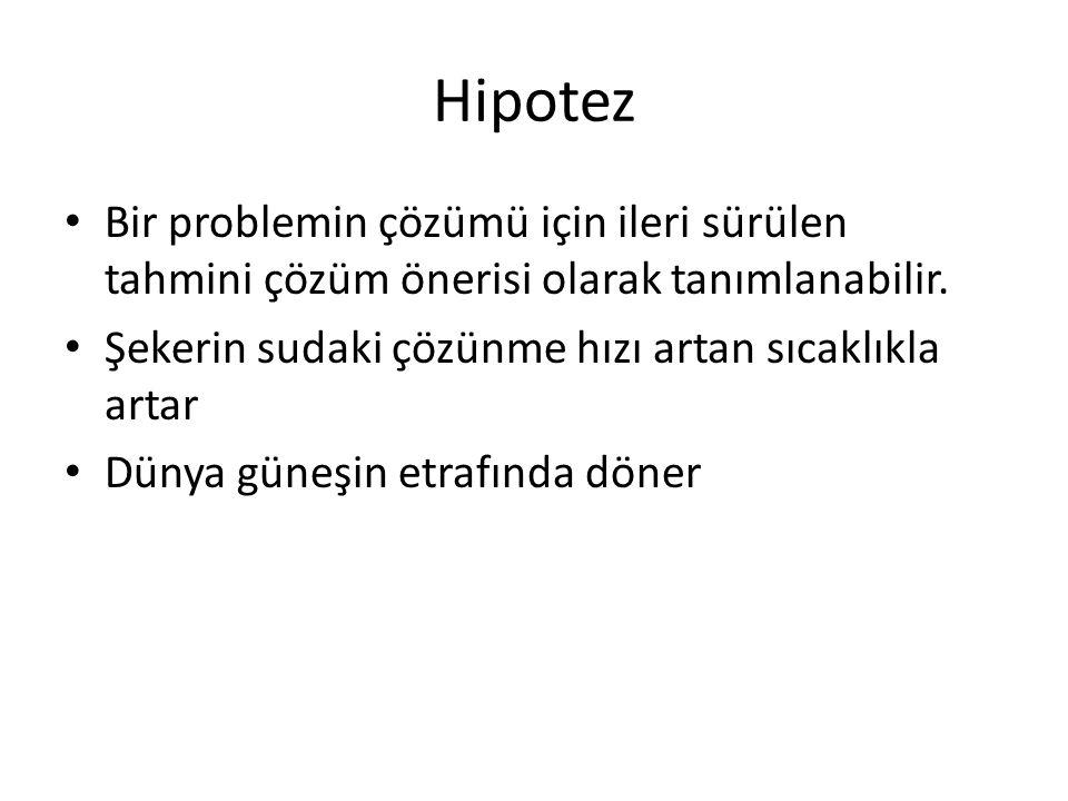 Hipotez Bir problemin çözümü için ileri sürülen tahmini çözüm önerisi olarak tanımlanabilir.