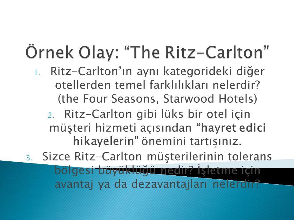 1. Ritz-Carlton'ın aynı kategorideki diğer otellerden temel farklılıkları nelerdir? (the Four Seasons, Starwood Hotels) 2. Ritz-Carlton gibi lüks bir