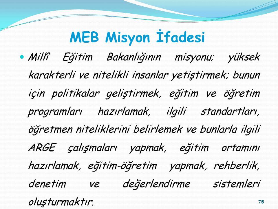 MEB Misyon İfadesi Millî Eğitim Bakanlığının misyonu; yüksek karakterli ve nitelikli insanlar yetiştirmek; bunun için politikalar geliştirmek, eğitim