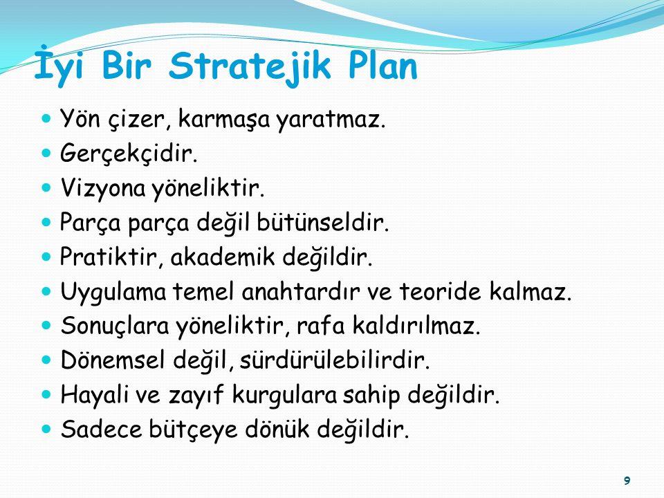 İyi Bir Stratejik Plan Yön çizer, karmaşa yaratmaz. Gerçekçidir. Vizyona yöneliktir. Parça parça değil bütünseldir. Pratiktir, akademik değildir. Uygu