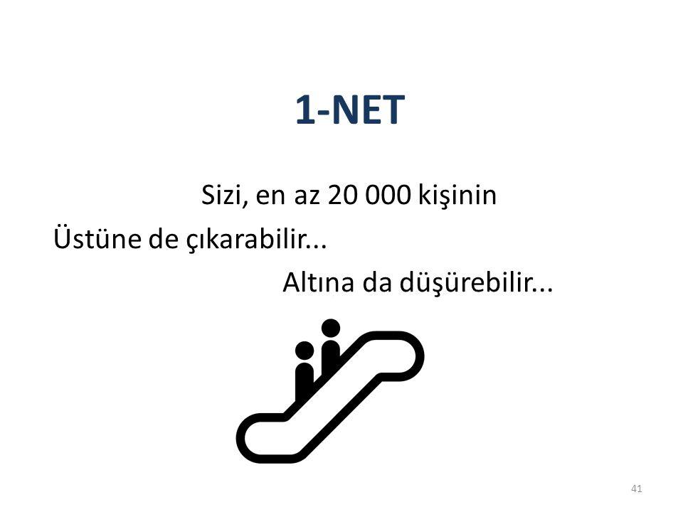41 1-NET Sizi, en az 20 000 kişinin Üstüne de çıkarabilir... Altına da düşürebilir...