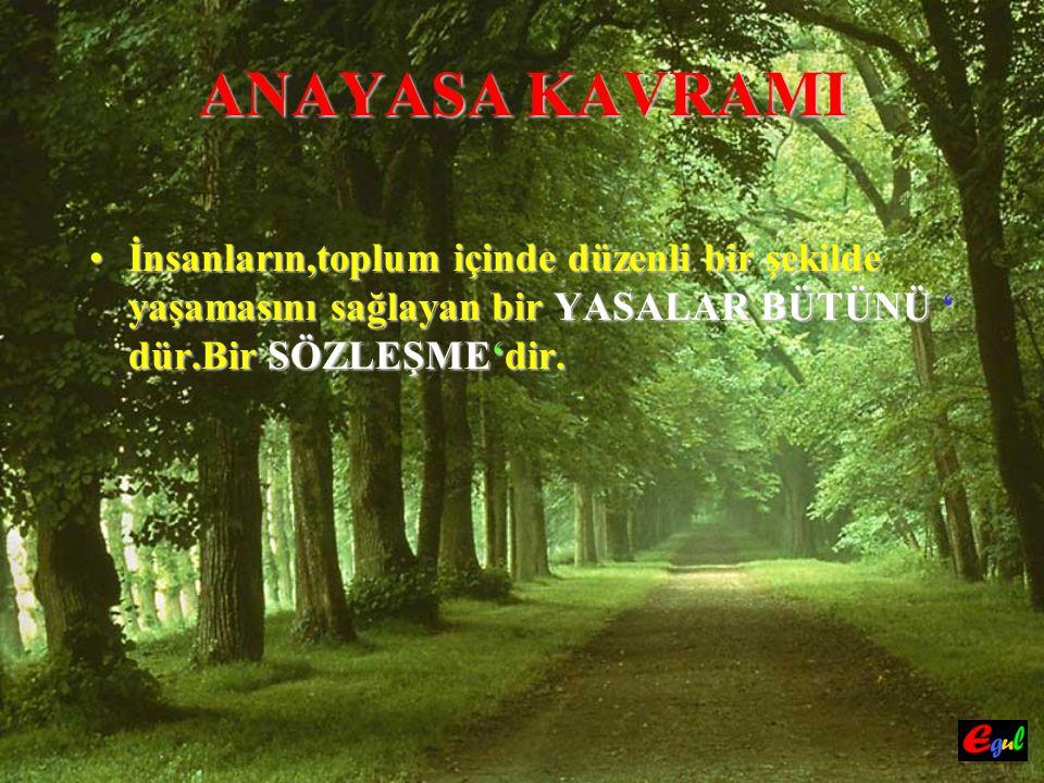 ANAYASA KAVRAMI TürkiyeTürkiye Cumhuriyeti Devleti, şu an da da 1982 Anayasası Anayasası ' na göre yönetilmektedir.