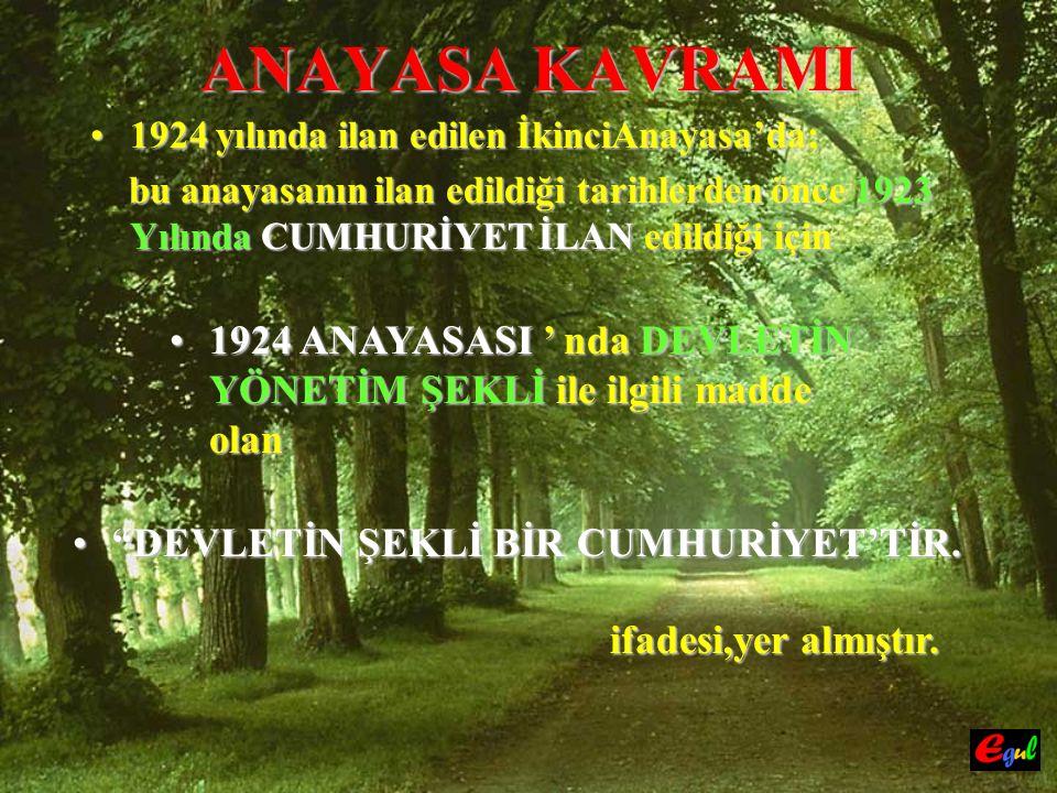 ANAYASA KAVRAMI 19241924 yılında ilan edilen İkinciAnayasa'da; bu anayasanın ilan edildiği tarihlerden önce 1923 Yılında Yılında CUMHURİYET İLAN İLAN edildiği için 19241924 ANAYASASI ' nda nda DEVLETİN YÖNETİM ŞEKLİ ŞEKLİ ile ilgili madde olan DEVLETİN DEVLETİN ŞEKLİ BİR CUMHURİYET'TİR.