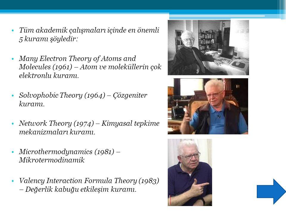 Tüm akademik çalışmaları içinde en önemli 5 kuramı şöyledir: Many Electron Theory of Atoms and Molecules (1961) – Atom ve moleküllerin çok elektronlu kuramı.