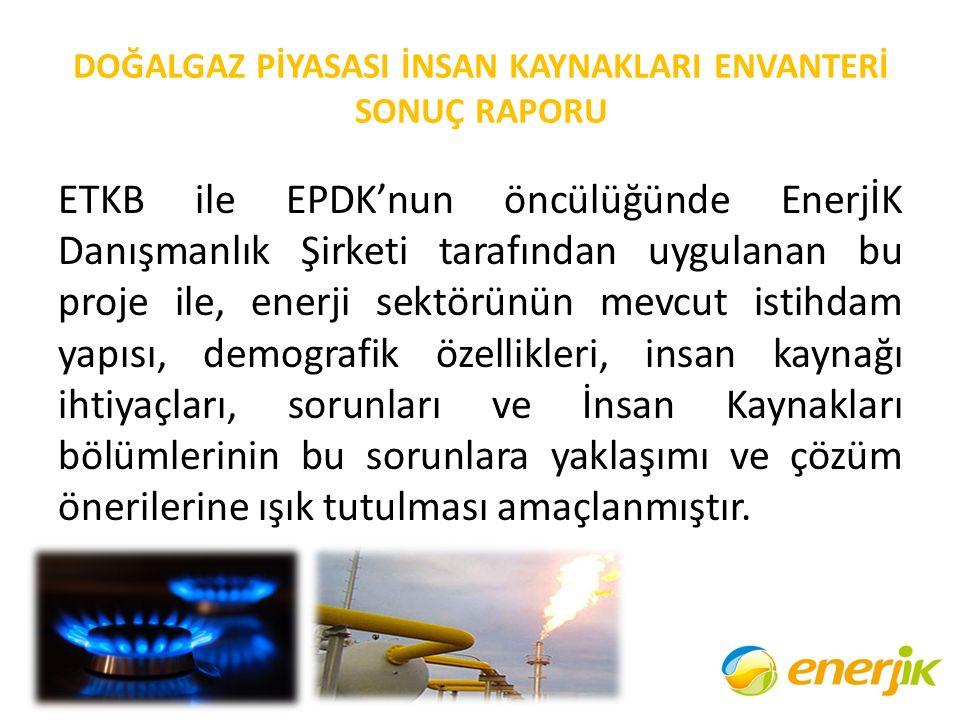 DOĞALGAZ PİYASASI İNSAN KAYNAKLARI ENVANTERİ SONUÇ RAPORU ETKB ile EPDK'nun öncülüğünde EnerjİK Danışmanlık Şirketi tarafından uygulanan bu proje ile,