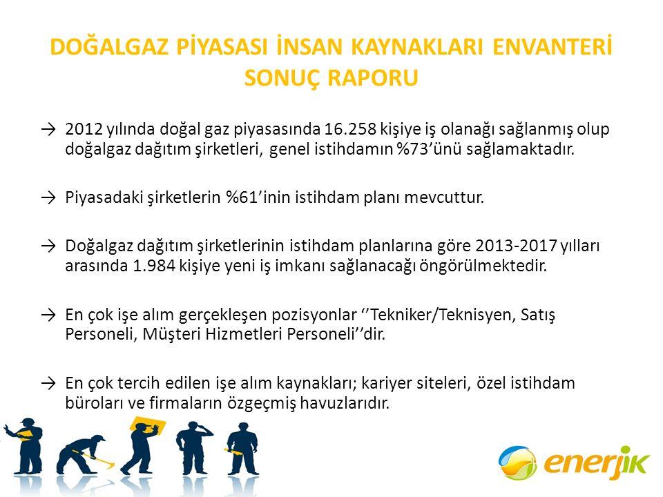 DOĞALGAZ PİYASASI İNSAN KAYNAKLARI ENVANTERİ SONUÇ RAPORU →2012 yılında doğal gaz piyasasında 16.258 kişiye iş olanağı sağlanmış olup doğalgaz dağıtım
