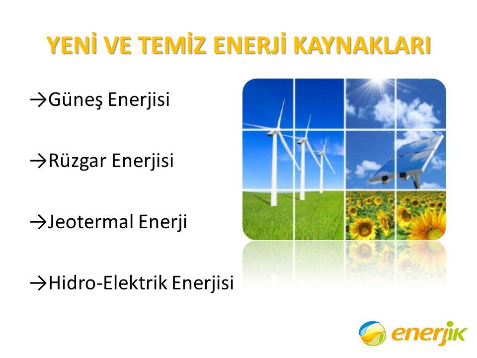 YENİ VE TEMİZ ENERJİ KAYNAKLARI →Güneş Enerjisi →Rüzgar Enerjisi →Jeotermal Enerji →Hidro-Elektrik Enerjisi
