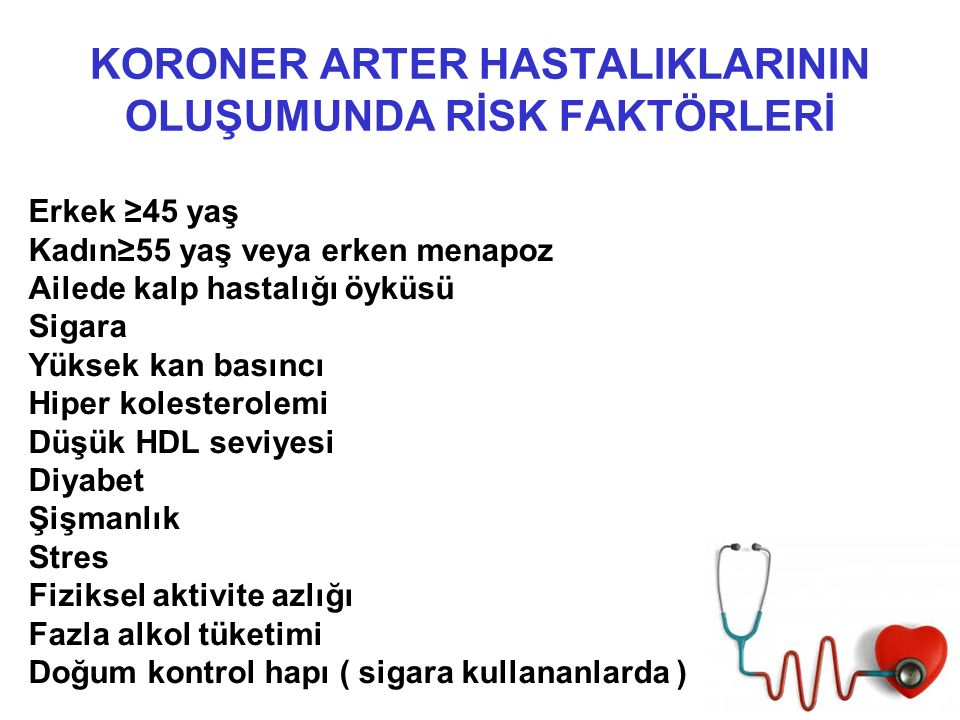 KORONER ARTER HASTALIKLARININ OLUŞUMUNDA RİSK FAKTÖRLERİ Erkek ≥45 yaş Kadın≥55 yaş veya erken menapoz Ailede kalp hastalığı öyküsü Sigara Yüksek kan basıncı Hiper kolesterolemi Düşük HDL seviyesi Diyabet Şişmanlık Stres Fiziksel aktivite azlığı Fazla alkol tüketimi Doğum kontrol hapı ( sigara kullananlarda )