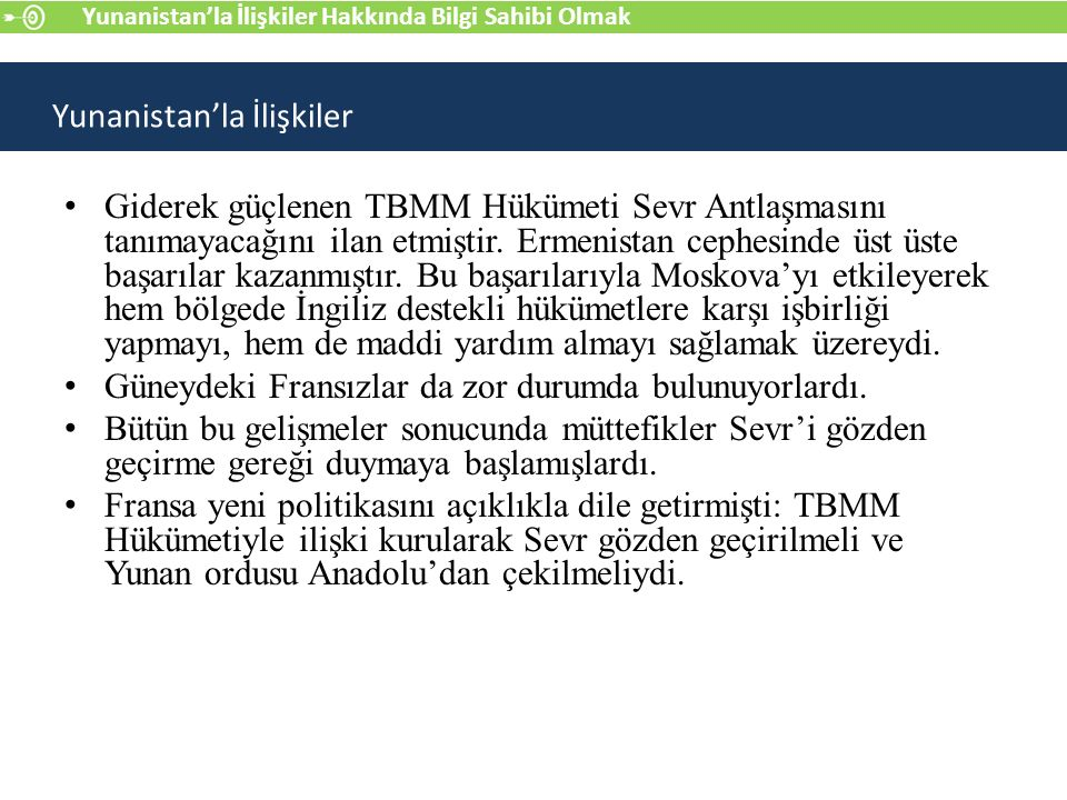 Giderek güçlenen TBMM Hükümeti Sevr Antlaşmasını tanımayacağını ilan etmiştir.