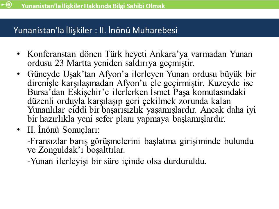 Konferanstan dönen Türk heyeti Ankara'ya varmadan Yunan ordusu 23 Martta yeniden saldırıya geçmiştir.