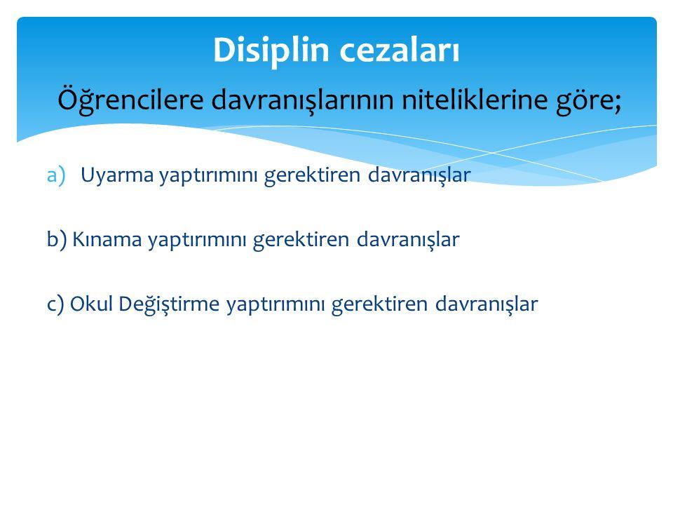 a)Uyarma yaptırımını gerektiren davranışlar b) Kınama yaptırımını gerektiren davranışlar c) Okul Değiştirme yaptırımını gerektiren davranışlar Disipli