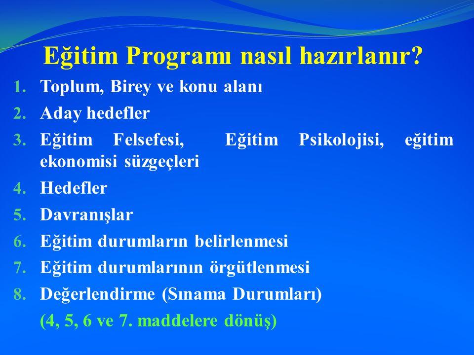 Eğitim Programı nasıl hazırlanır? 1. Toplum, Birey ve konu alanı 2. Aday hedefler 3. Eğitim Felsefesi, Eğitim Psikolojisi, eğitim ekonomisi süzgeçleri