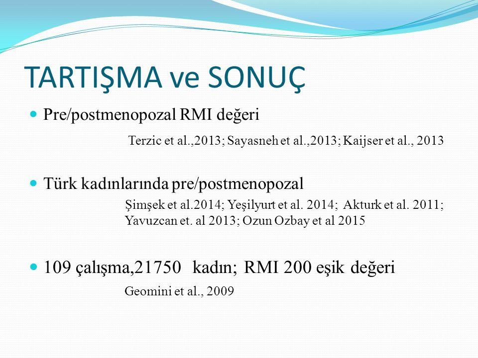 TARTIŞMA ve SONUÇ Pre/postmenopozal RMI değeri Terzic et al.,2013; Sayasneh et al.,2013; Kaijser et al., 2013 Türk kadınlarında pre/postmenopozal Şimş