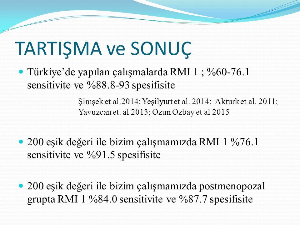 TARTIŞMA ve SONUÇ Türkiye'de yapılan çalışmalarda RMI 1 ; %60-76.1 sensitivite ve %88.8-93 spesifisite Şimşek et al.2014; Yeşilyurt et al. 2014; Aktur